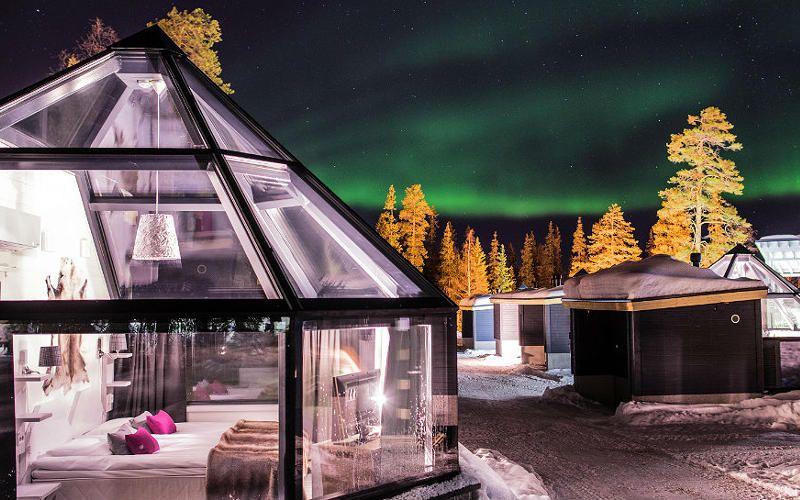 iglu de cristal para ver aurora boreal