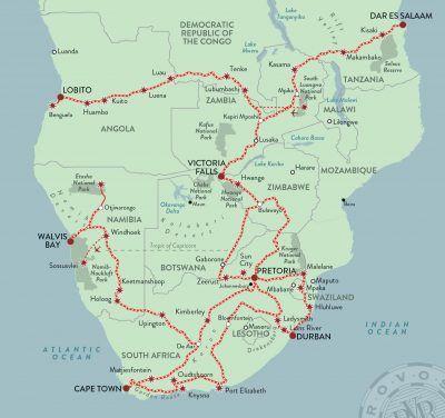 Mapa-viaje-en-tren-de-lujo-Sudáfrica